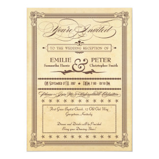 Vintage Poster Cream, Brown Reception Only Wedding 5.5x7.5 Paper Invitation Card
