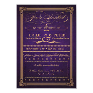 Vintage Poster Dark Purple Wedding & Reception Card