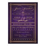 "Vintage Poster Dark Purple Wedding & Reception 5"" X 7"" Invitation Card"