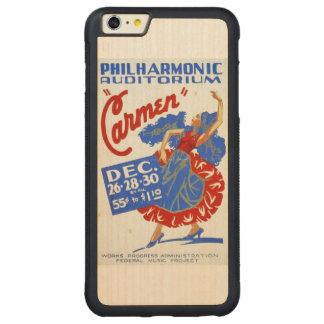 Vintage poster de WPA de las artes interpretativas Funda De Arce Bumper Carved® Para iPhone 6 Plus