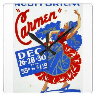 Vintage poster de WPA de las artes interpretativas Reloj Cuadrado