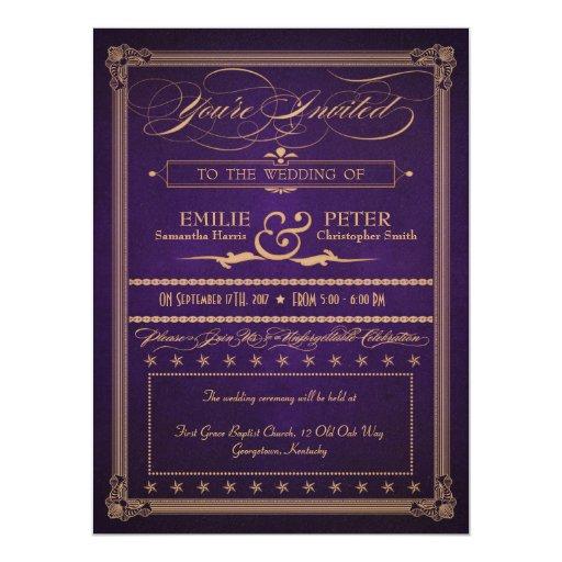 "Vintage Poster Deep Purple Wedding & Reception 6.5"" X 8.75"" Invitation Card"