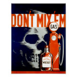 Vintage Poster - Don't Mix 'Em - skull - CANVAS