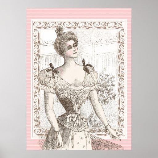 Vintage Poster Elegant Belle Epoque Lingerie Lady