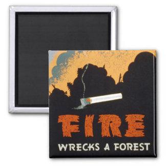 Vintage Poster - Fire Wrecks a Forest Fridge Magnet