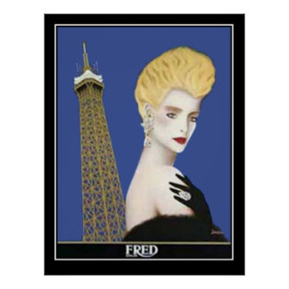 Vintage poster French Girl with Eifel Tower