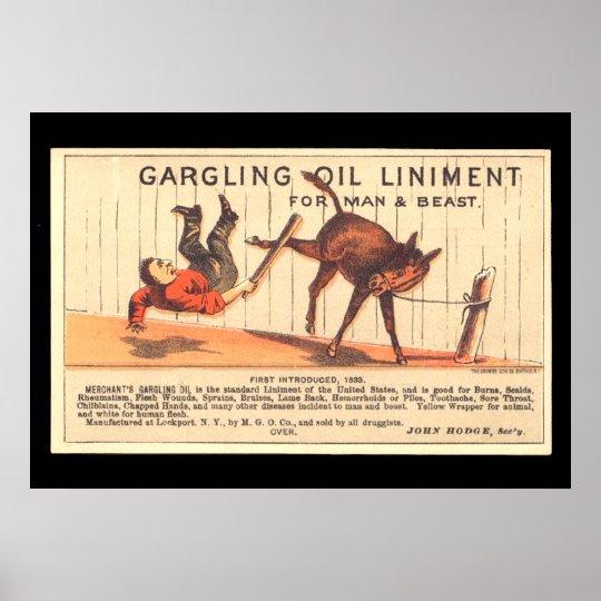 Vintage Poster Gargling Oil Liniment