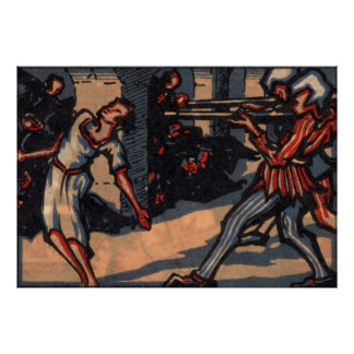Vintage poster: Girl being killed by gunmen Poster