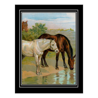 Vintage poster Horses Drinking