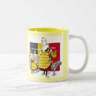 Vintage Poster Inspired Get Raw Milk Get Real Milk Two-Tone Coffee Mug
