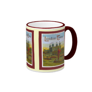 Vintage poster, London Town, Thames barge Coffee Mugs