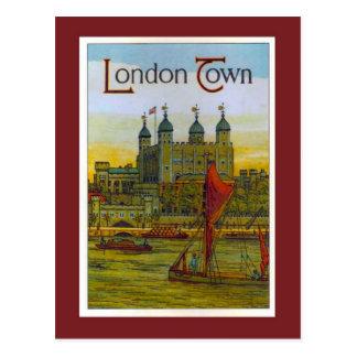 Vintage poster, London Town, Thames barge Postcard