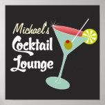 Vintage Poster, Martini Glass Cocktails