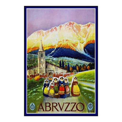 Vintage Poster Moutains Abrvzzo Abruzzo Italy