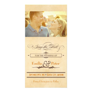 Vintage Poster Orange & Brown Save the Date Picture Card