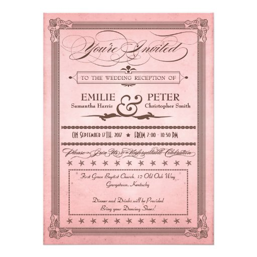 Vintage Poster Pink Amp Brown Reception Only Wedding 55x75 Paper Invitation Card