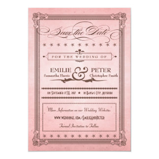 Vintage Poster Pink & Brown Save the Date Custom Invitations