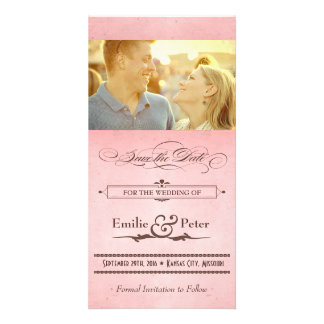 Vintage Poster Pink & Brown Save the Date Customized Photo Card
