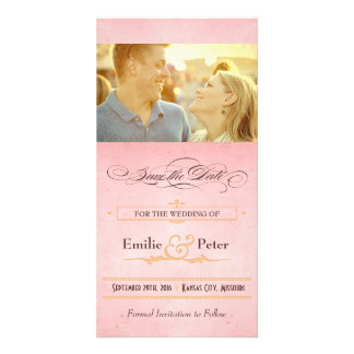 Vintage Poster Pink, Cream & Brown Save the Date Photo Greeting Card