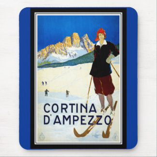 Vintage Poster Print Cortina D' AMPEZZO Italy Mouse Pad