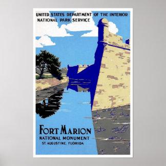 Vintage Poster Print Fort Marion National Park Print