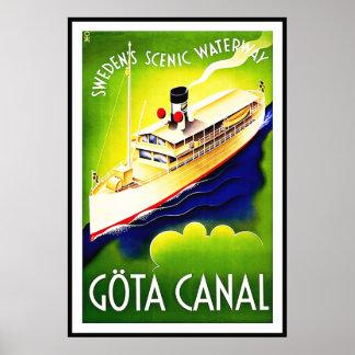 Vintage Poster Print Gota Canal Sweden Waterway