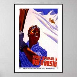 Vintage Poster Print Invernali Val D'Aosta Italy