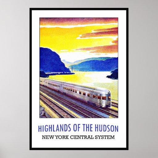 Vintage Poster Print New York Hudson Train Large Print
