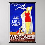 Vintage Poster Print New York Weston Super Mare Print