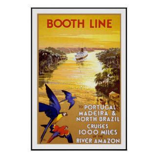 Vintage Poster Print Portugal Brazil Amazon River
