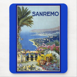 Vintage Poster Print Sanremo Italy Mouse Pad