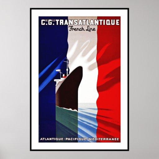 Vintage Poster Print Transatlantique French France Posters