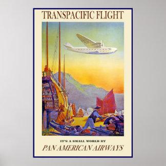 Vintage Poster Print Transpacific Flight Airways