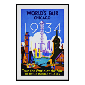 Vintage Poster Print World's Fair Chicago Travel