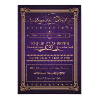 Vintage Poster Purple & Gold Save the Date Card