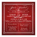 """Vintage Poster Red & Silver Square Wedding Invite 5.25"""" Square Invitation Card"""