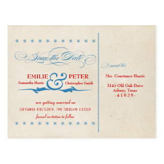 Vintage Poster Red, White & Blue Save the Date Postcard