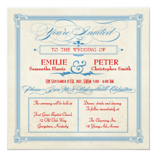 Vintage Poster Red, White & Blue Square Wedding Card