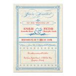 Vintage Poster Red, White & Blue Wedding Custom Invite
