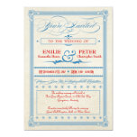 Vintage Poster Red, White & Blue Wedding, RSVP Announcements
