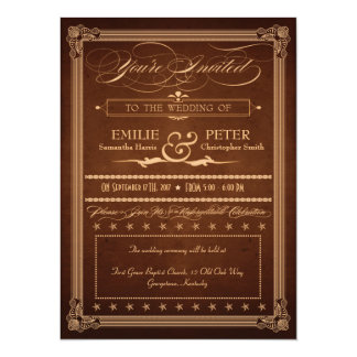 Vintage Poster Rich Brown Wedding & Reception Card