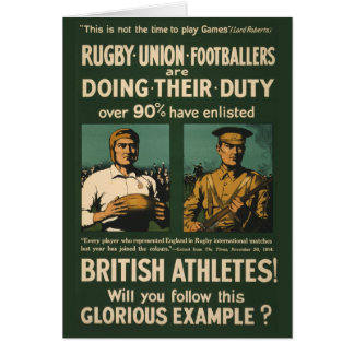 Vintage Poster: Rugby players call for duty Card
