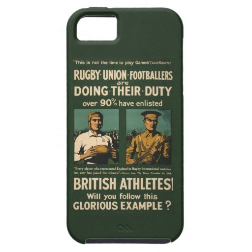 Vintage Poster: Rugby players call for duty iPhone 5 Covers