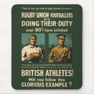 Vintage Poster: Rugby players call for duty Mouse Pad