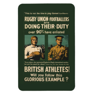 Vintage Poster: Rugby players call for duty Rectangular Photo Magnet