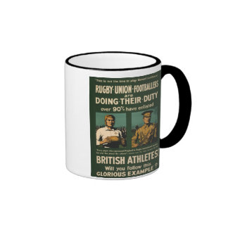 Vintage Poster: Rugby players call for duty Ringer Mug