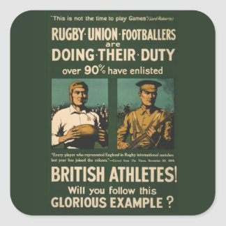 Vintage Poster: Rugby players call for duty Square Sticker