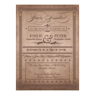 Vintage Poster Rustic Cocoa Reception Only Wedding Card