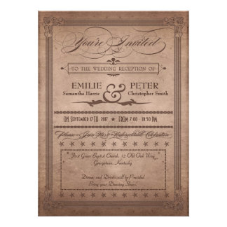 Vintage Poster Rustic Cocoa Reception Only Wedding Personalized Invitations