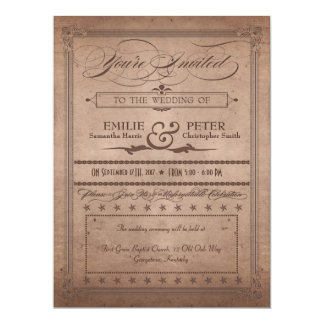 Vintage Poster Rustic Cocoa Wedding & Reception Card
